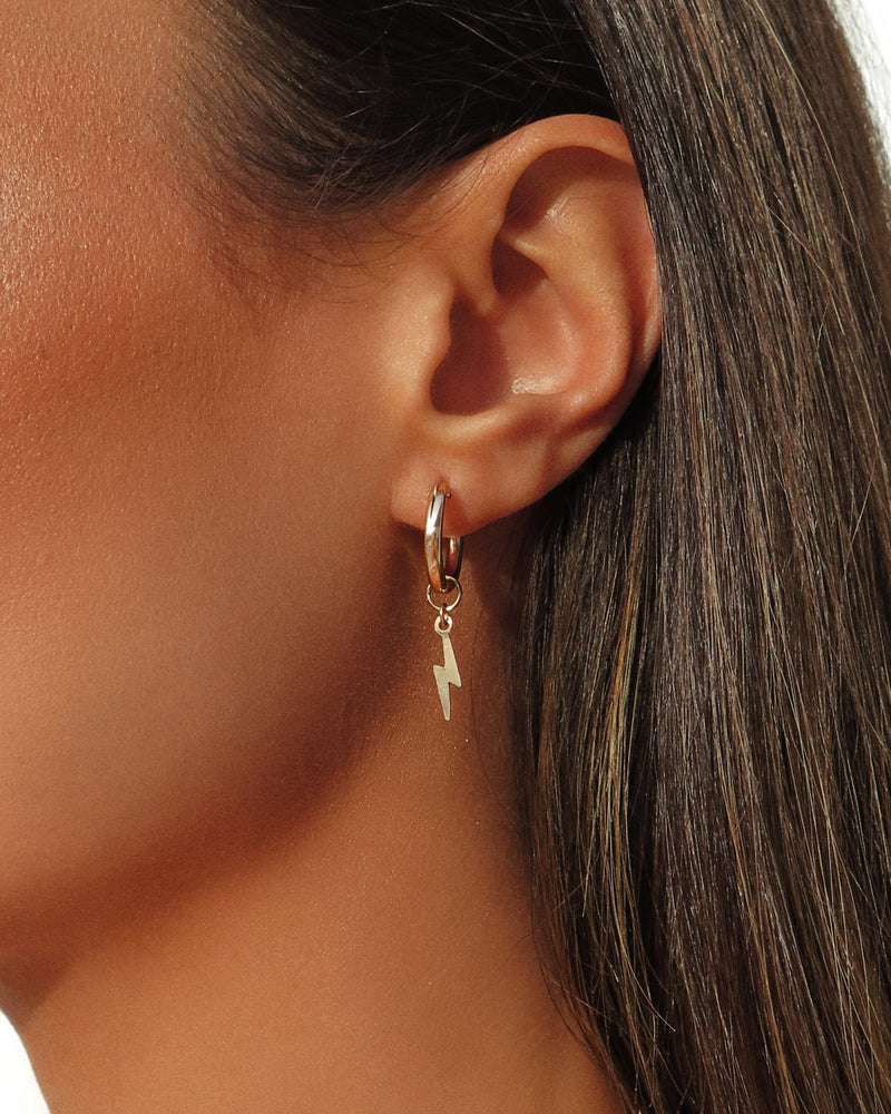 Thick Lightning Bolt Hoop Earrings 14k Yellow Gold The Littl