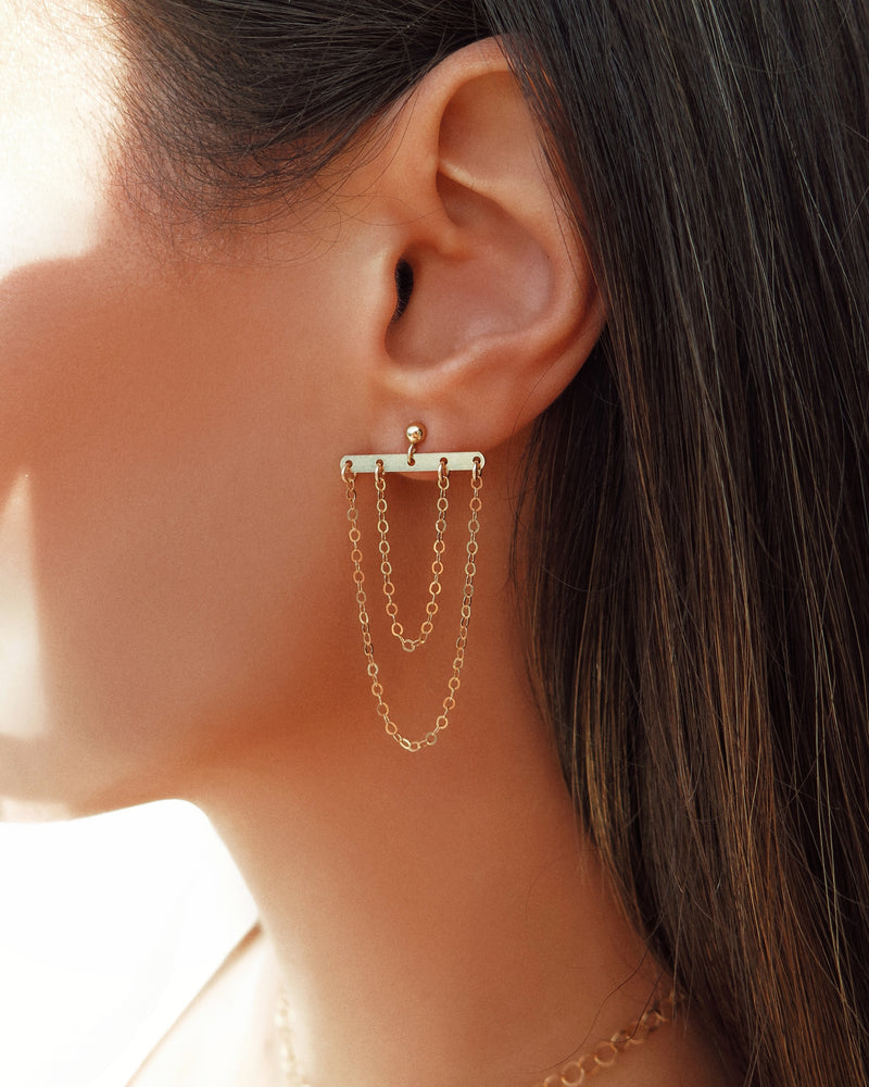DOUBLE HANGING CHAIN EARRINGS- 14k Yellow Gold