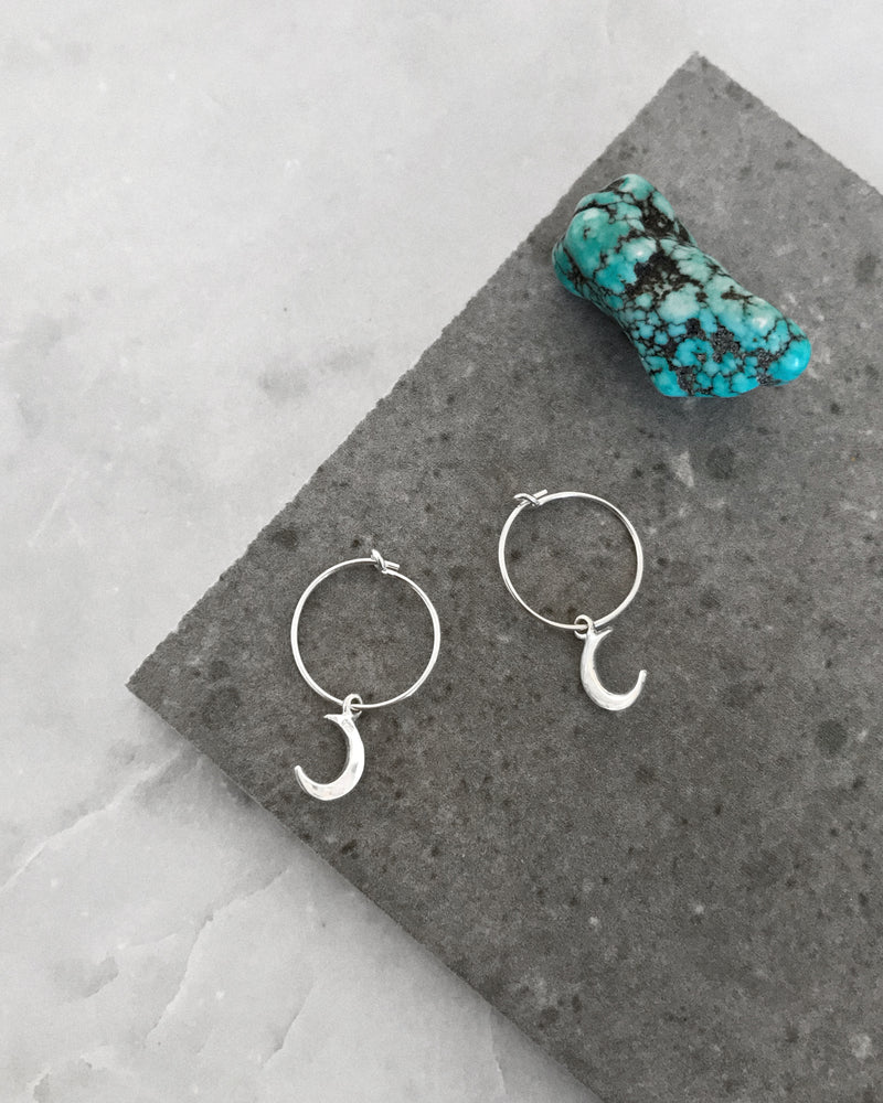 MOON HOOP EARRINGS- Sterling Silver