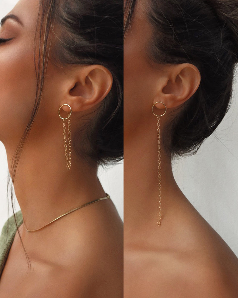 DUAL LOOK CIRCLE CHAIN EARRINGS- 14k Yellow Gold