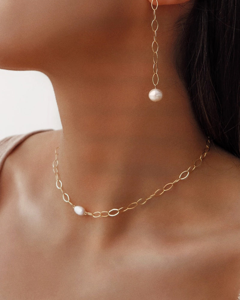 FRESHWATER PEARL OVAL CHAIN NECKLACE- 14k Yellow Gold
