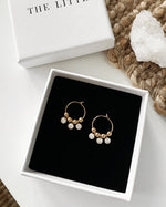 TRIPLE CLEAR CZ HOOP EARRINGS- 14k Yellow Gold