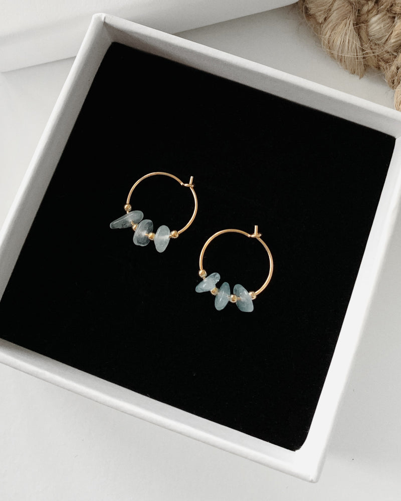 LIGHT BLUE AGATE HOOP EARRINGS