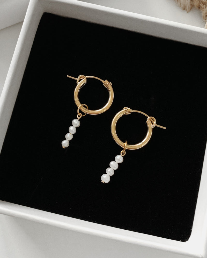 FRESHWATER PEARL BAR HOOP EARRINGS- 14k Yellow Gold