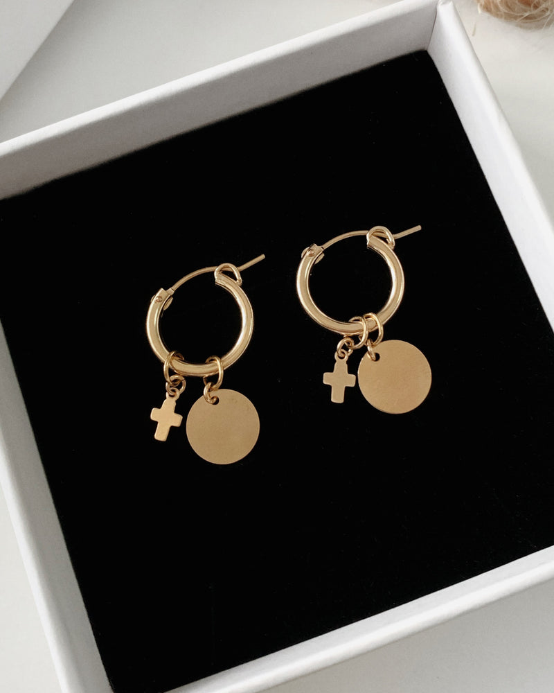 CROSS COIN THICK HOOP EARRINGS
