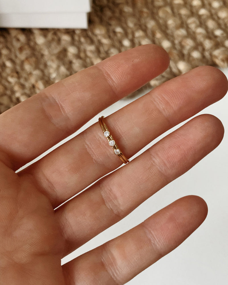 THREE CZ RING- 14k Yellow Gold