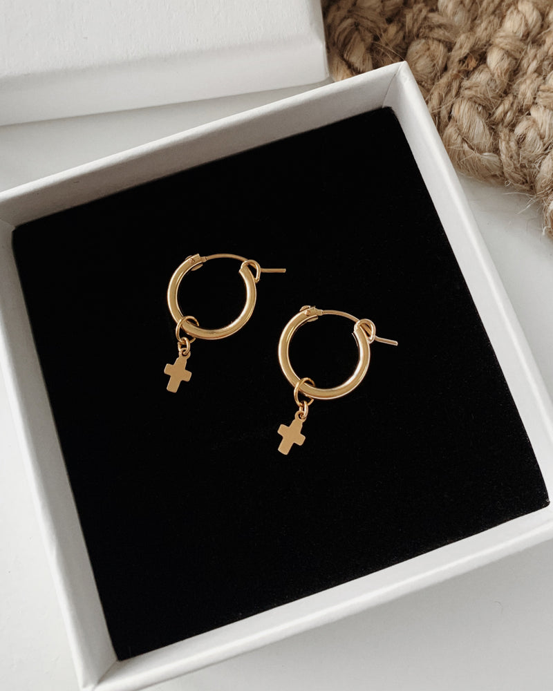 SMALL CROSS THICK HOOP EARRINGS