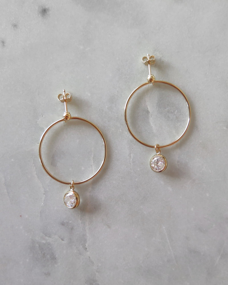 CIRCLE CZ DROP EARRINGS- 14k Yellow Gold
