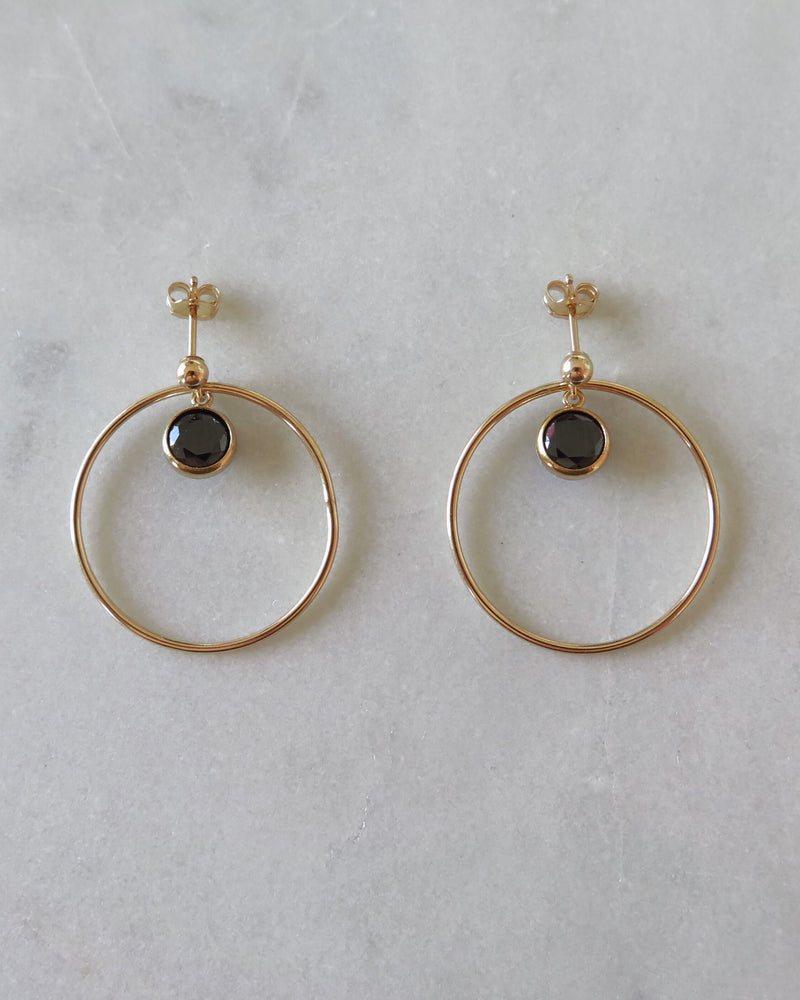 CIRCLE CZ CENTRE EARRINGS