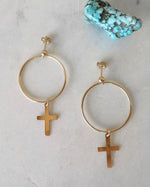 LARGE CIRCLE CROSS EARRINGS