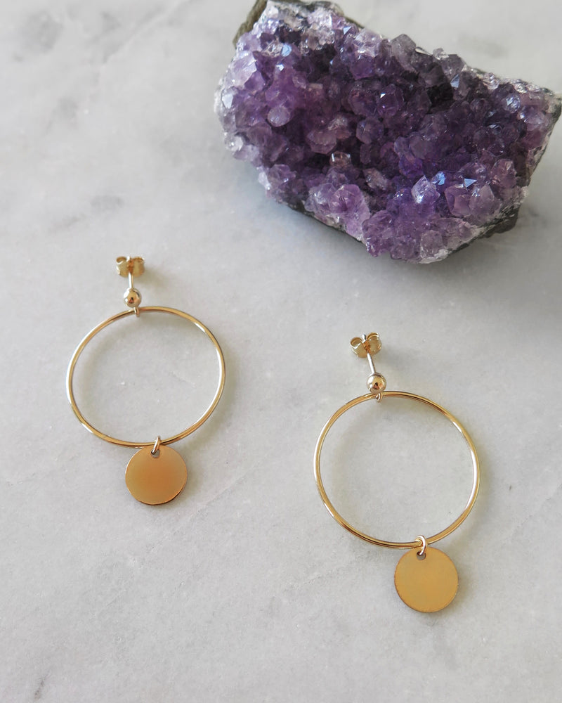 LARGE CIRCLE COIN EARRINGS- 14k Yellow Gold