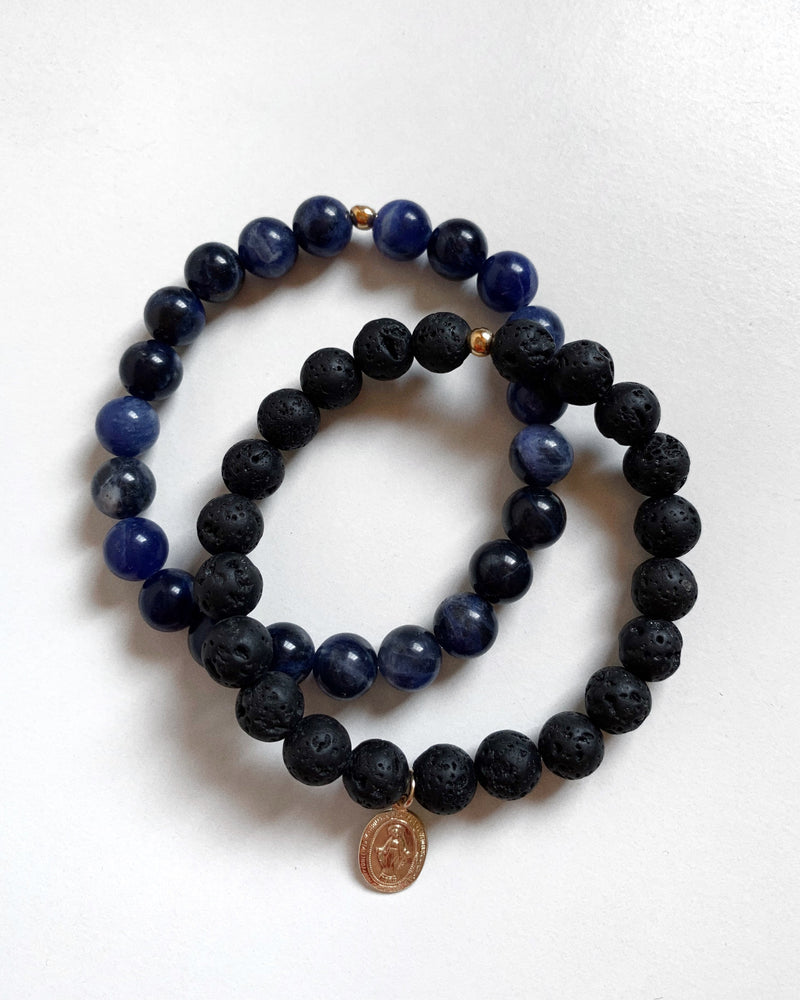 LAVA AND SODALITE MIRACULOUS MEDAL BRACELET SET