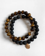 TIGER EYE AND LAVA MIRACULOUS MEDAL BRACELET SET