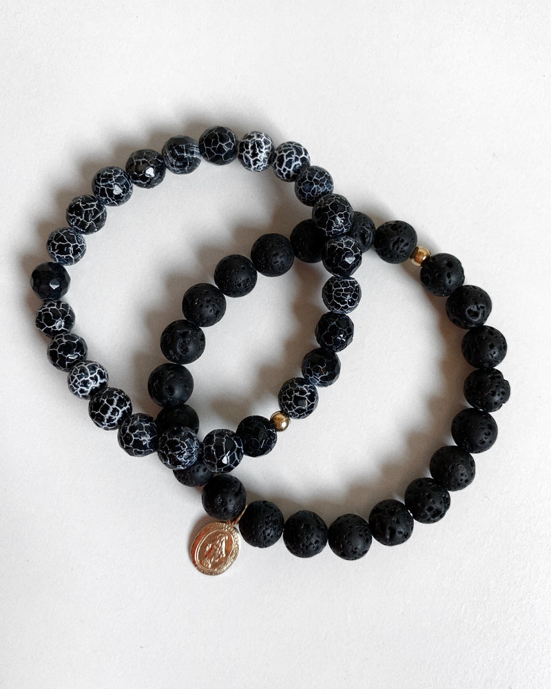 LAVA AND CRACKLE AGATE MIRACULOUS MEDAL BRACELET SET