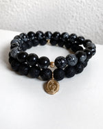 OBSIDIAN AND LAVA MIRACULOUS MEDAL BRACELET SET