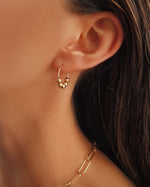 BEADED HOOP EARRINGS- 14k Gold