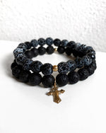 LAVA AND CRACKLE AGATE FLARED CROSS BRACELET SET