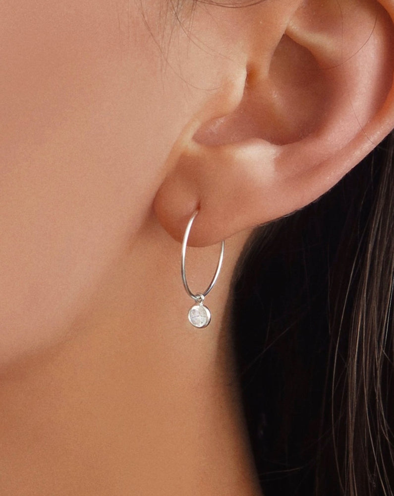 CZ HOOP EARRINGS- Sterling Silver/Clear