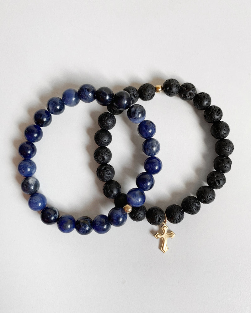 LAVA AND SODALITE FLARED CROSS BRACELET SET