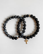 OBSIDIAN AND LAVA FLARED CROSS BRACELET SET