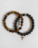 TIGER EYE AND LAVA FLARED CROSS BRACELET SET