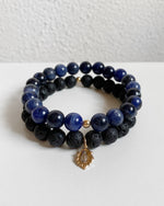LAVA AND SODALITE MARY BRACELET SET