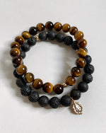 TIGER EYE AND LAVA MARY BRACELET SET
