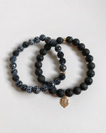 LAVA AND CRACKLE AGATE MARY BRACELET SET