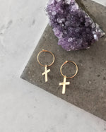 CROSS EARRINGS- 14k Yellow Gold