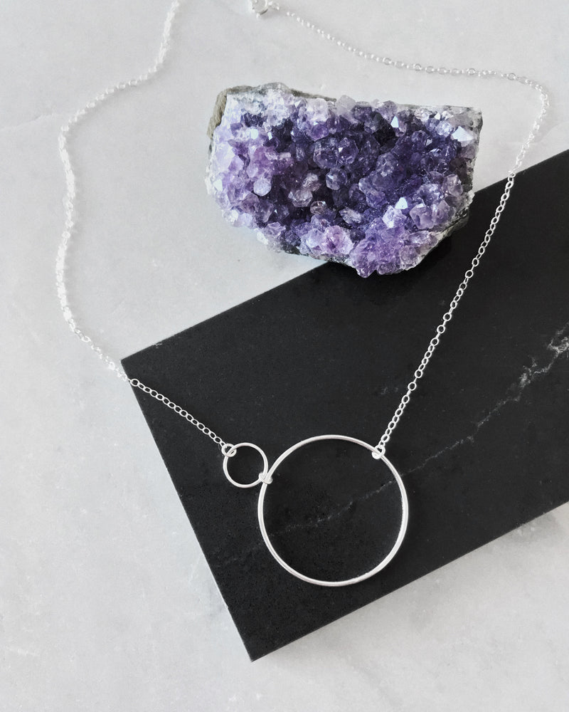 DOUBLE CIRCLE NECKLACE- Sterling Silver
