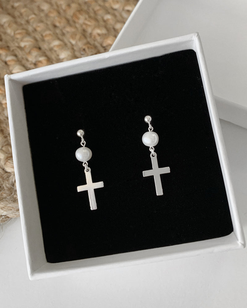 FRESHWATER PEARL CROSS EARRINGS- Sterling Silver