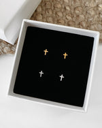 CROSS STUD EARRINGS- 14k Yellow Gold