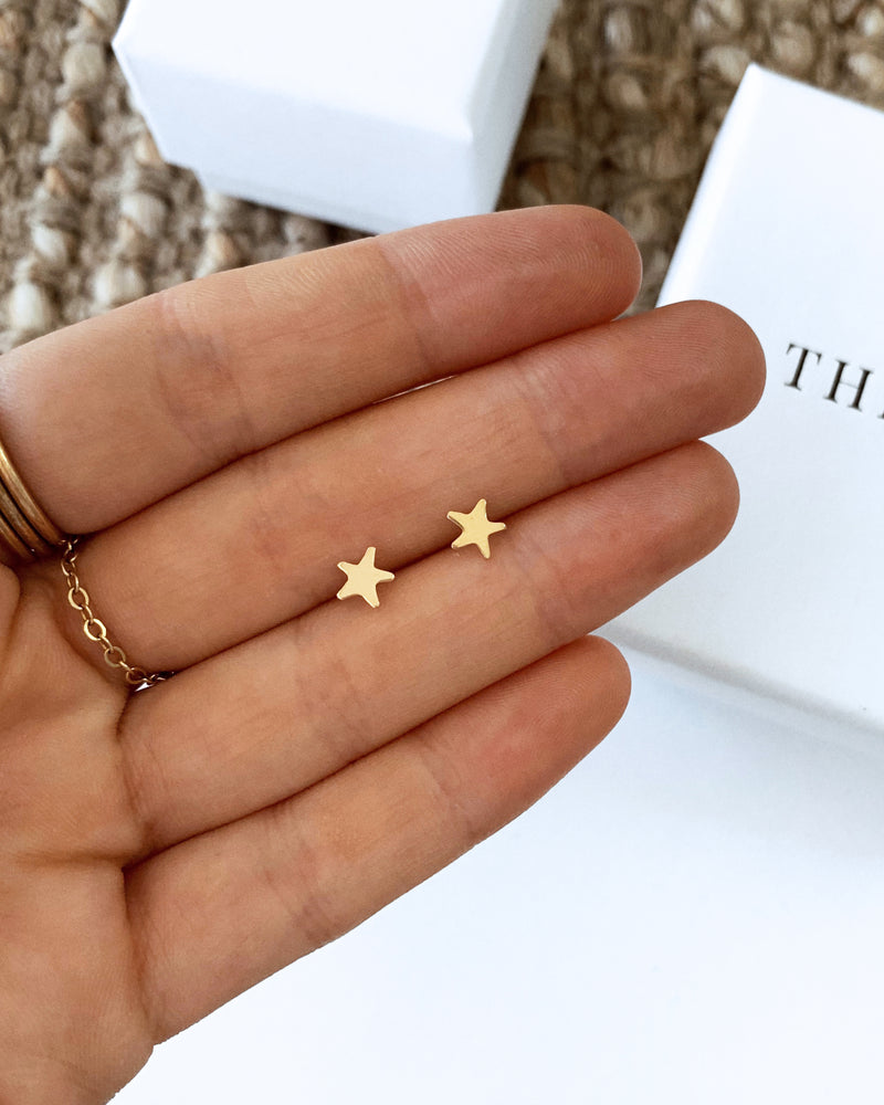 STAR STUD EARRINGS- 14k Yellow Gold