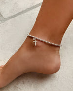 FRESHWATER PEARL CROSS BEADED ANKLET- Sterling Silver