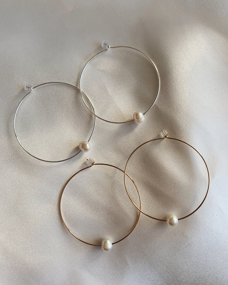 LARGE FRESHWATER PEARL HOOP EARRINGS- Sterling Silver