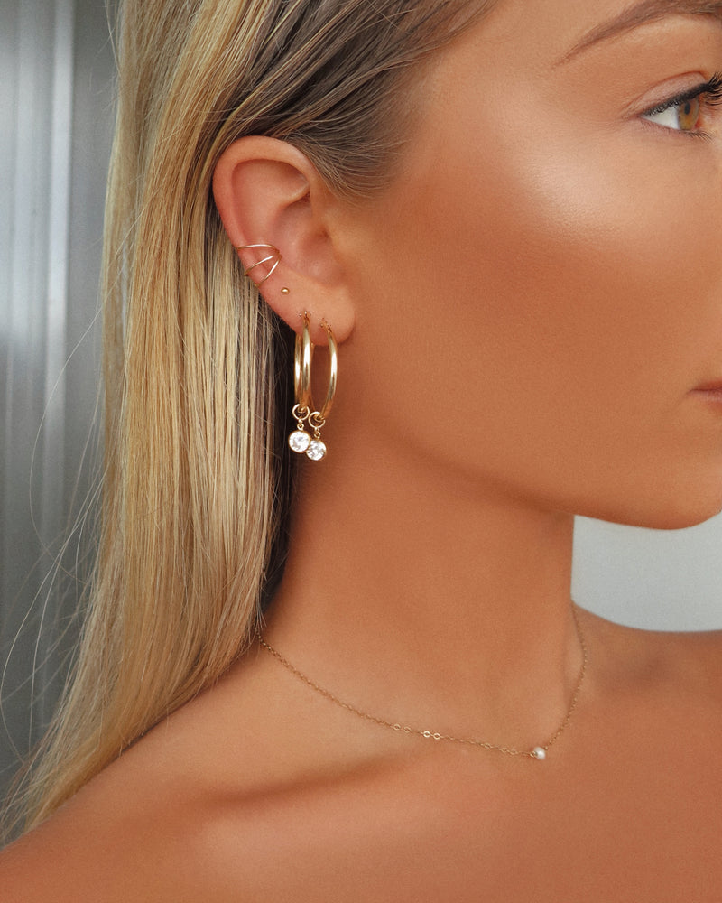 CZ DROP HOOP EARRINGS