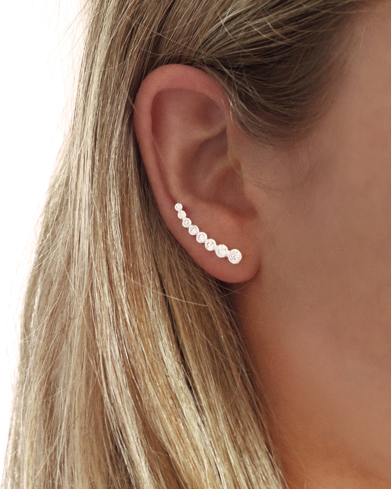 CZ LINE EARRINGS- Sterling Silver