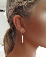BAR HOOP EARRINGS- 14k Yellow Gold