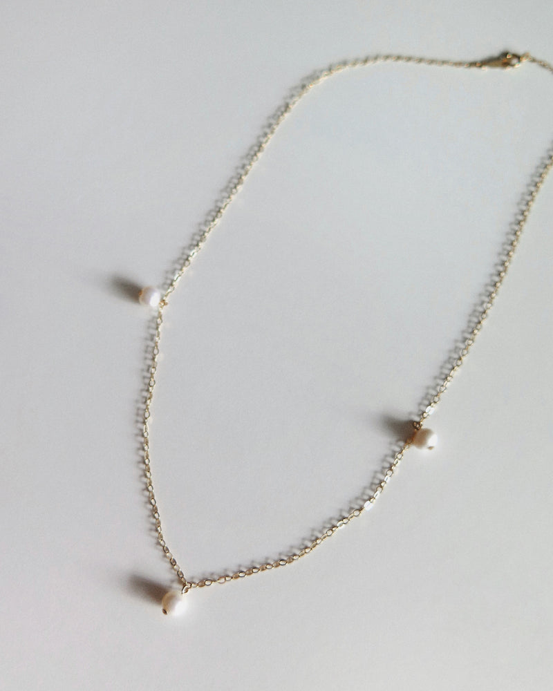 TRIPLE FRESHWATER PEARL NECKLACE- 14k Gold