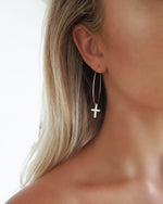 LARGE CROSS HOOP EARRINGS- Sterling Silver
