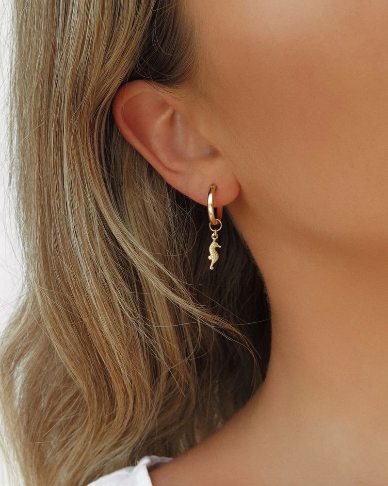THICK SEAHORSE HOOP EARRINGS- 14k Yellow Gold