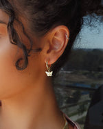 THICK BUTTERFLY HOOP EARRINGS- 14k Yellow Gold