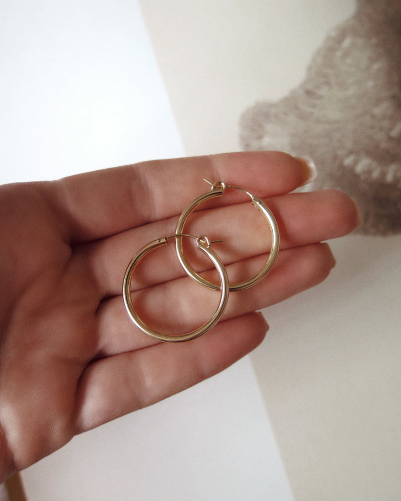 THICK HOOP EARRINGS- 14k Yellow Gold