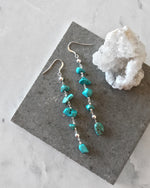 TURQUOISE WATERFALL EARRINGS- Sterling Silver