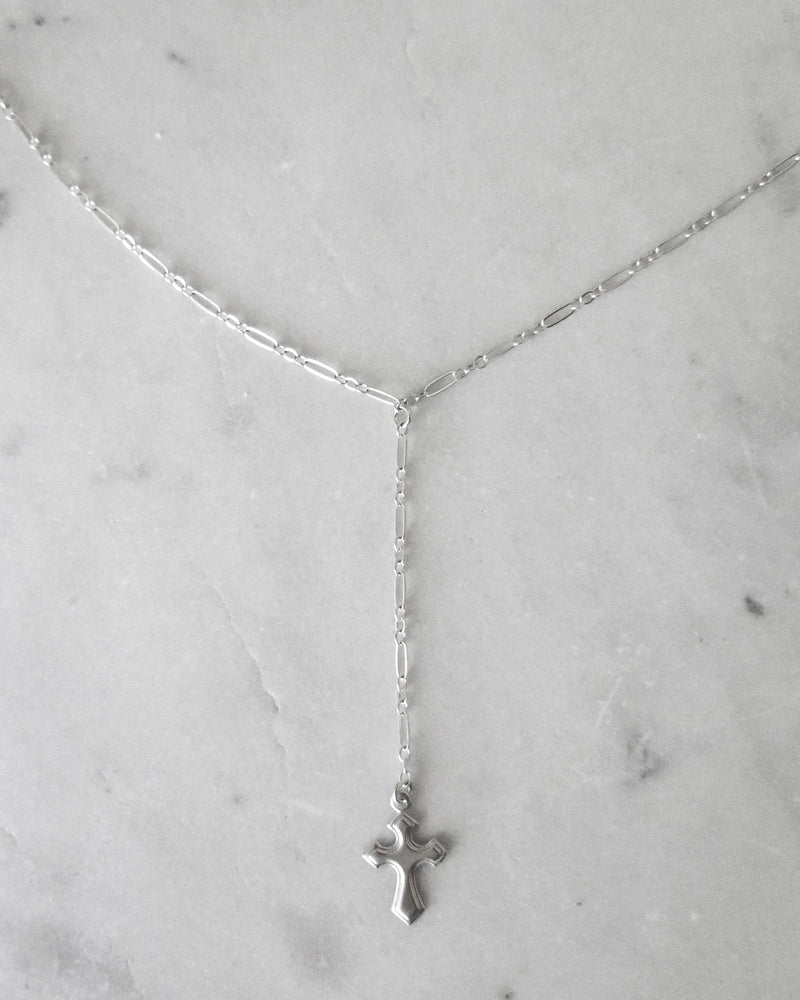 MEN- FLARED CROSS DROP NECKLACE