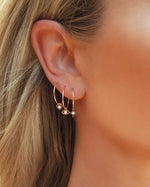 BABY CZ HOOP EARRINGS- 14k Yellow Gold