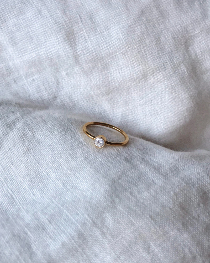 LARGE CZ RING- 14k Yellow Gold