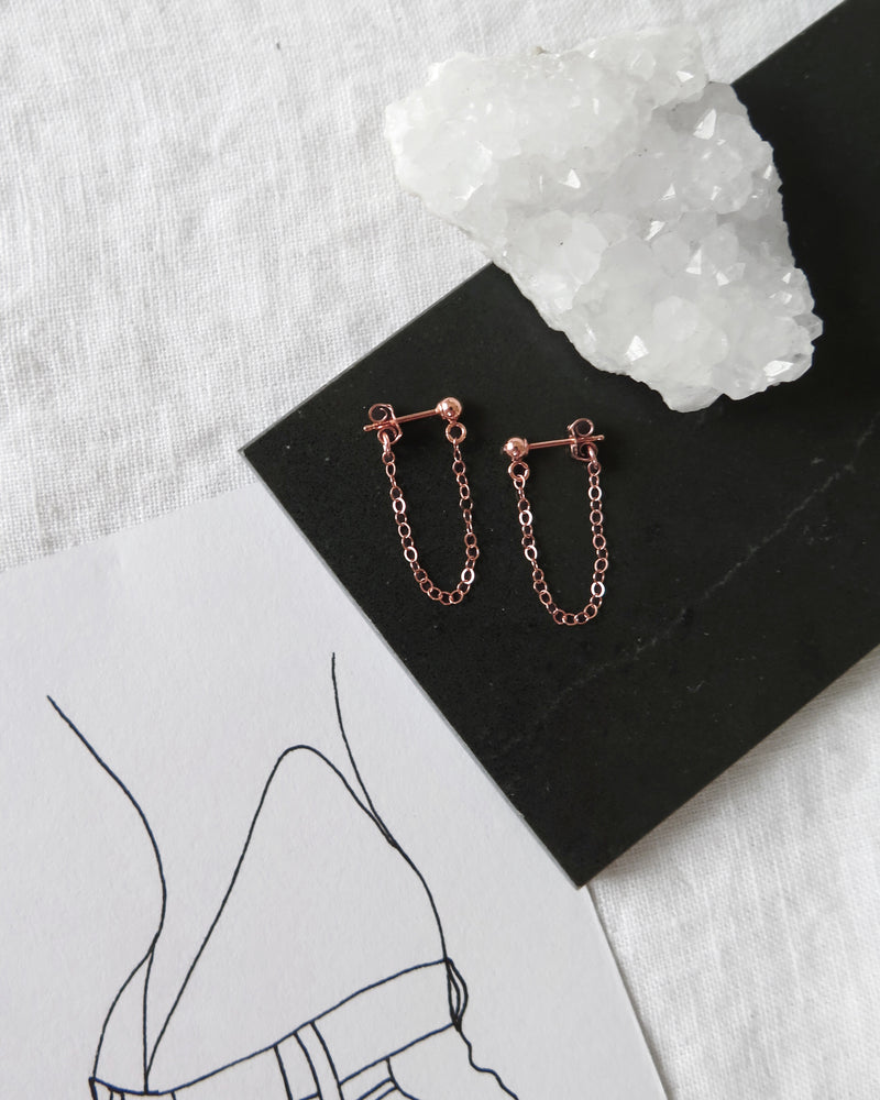 CHAIN STUD EARRINGS- 14k Rose Gold