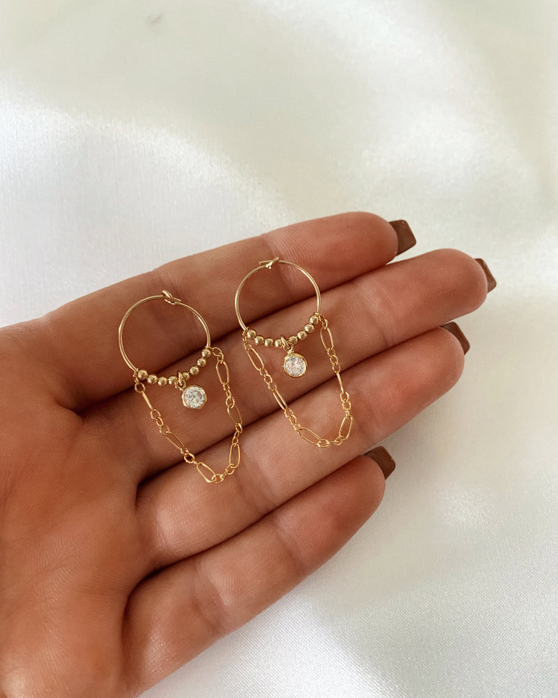 CZ CHAIN HOOP EARRINGS- 14k Yellow Gold