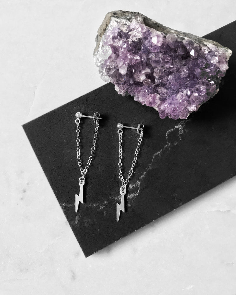 PRE ORDER: LIGHTNING BOLT CHAIN STUD EARRINGS- Sterling Silver